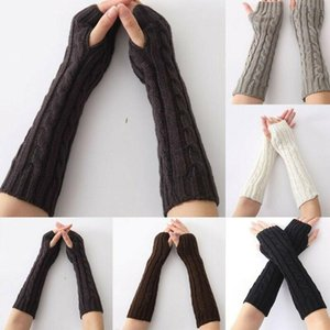Women Winter Wrist Arm Knitted Long Fingerless Gloves Mittens Hand Warmer Gloves