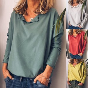 5Colour S-XXXL Woman's Sexy casual Fashionable loose large size solid color long sleeve T-shirt Top pullover Blouse 35629239234832