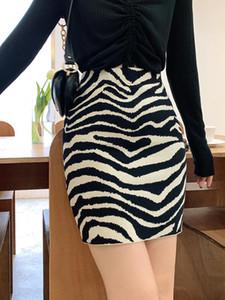 2020 autumn and winter zebra print high waist skirt short skirt women retro knitted bag hip
