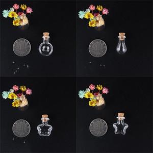 Botellas de vidrio a la deriva transparente Mini Pequeño corazón en forma de corcho redondo Tapón de corcho Deseando contenedores de botellas Colgantes Jares Decorar 0 99JD M2