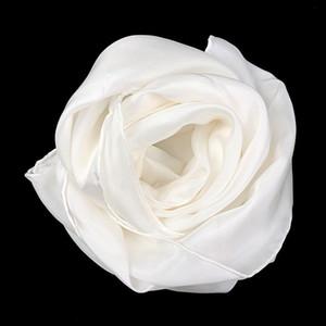 100% Saf İpek Düz Beyaz 8mm Habotai El Rulo Lady Uzun Ipek Eşarp Boyama ve Boyama için