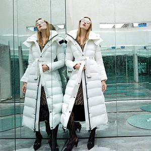 Fashion-White Duck Down Jacket Women Winter 2019 Brand Female Parka Long Puffer Jacket Hooded Snow Outwear Thick Warm Waterproof Coats