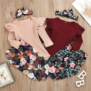 3Pcs Baby Girls Clothes Set for Children's Clothing Spring 2021 Kids Solid Color Tops+Floral Print Trousers+Headband Outfits J1204