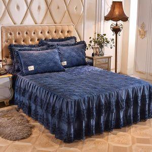3 5-Pieces Luxury Blue Ruffel Lace Plush Bedskirt Warm Bedding Set Bed cover set Bedspread Pillow shams