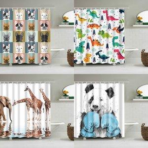Impressão 3D Desenhos animados Bulldog Banheira de Banheira Banheiro Curtain Curtain Curtain Curtain Presente de Natal Decoração Multi-Size Chuveiro Cortina Y1126