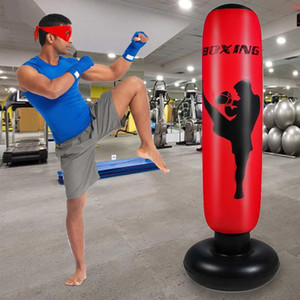 1.6m Thick Training Fitness Vertical Inflatable Boxing Bag PVC Thickening Boxing Pillar Tumbler Column Punching Bag Fitness Tool