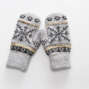 Women Gloves Winter Knitted Warm Gloves Delicate Pattern Windproof Gloves Mittens Glove Heated For Christmas