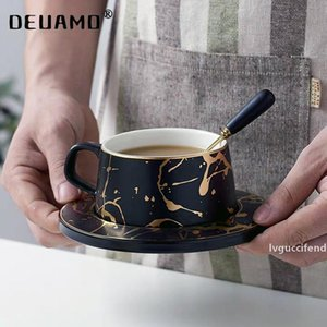 Nordic Style Marble coffee mug matte gold series ceramic tea cup luxurious Vintage Cafe Bar Mark cup Christmas party supplies T200506