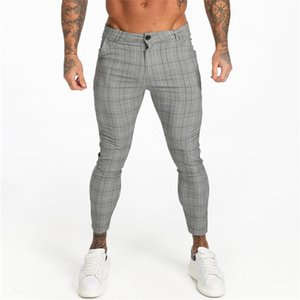 GingtO Mens Chinos Slim Fit Erkekler Sıska Chino Pantolon Gri Ayak Bileği Uzunluğu Süper Streç Rahat Pantolon Tasarımcı Ekose ZM356 201222