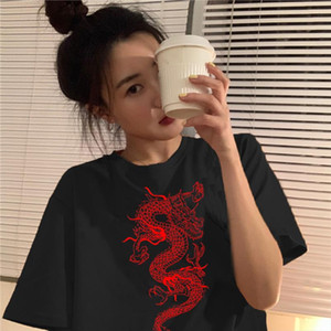 Short Sleeve T shirt Women Dragon Print Oversize Boyfriend Style Tops Perfect Basic Tees Render Unlined Upper Garment 4 Season