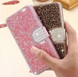 Luxury designer mobile phone case Apple 11pro mobile phone case iphone7 8 plus rhinestone flash drill Xsmax flip type 6s protective leather