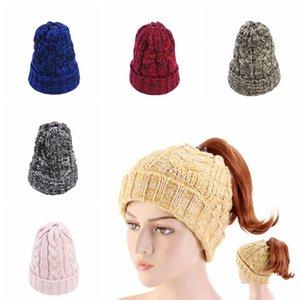 Woman Knit Ponytail Hat Fashion Warm Winter Crochet Skull Cap Kids Outdoor Party Beanie Hats Lady Ski Caps TTA1825