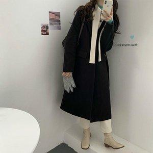 Mulheres snordic outono inverno longo cashmere blazer-casaco jaqueta retalhos de lã sobretudo de algodão cardigan outerwear