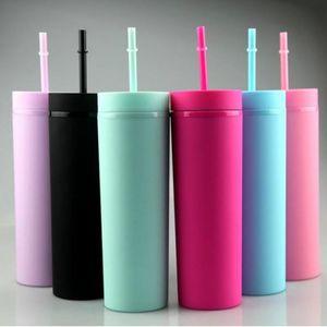 16 унций акриловые тощие тумблеры матовые цвета Двойная стена 500ML Tumbler Coffee питьевая пластиковая кубок с крышкой соломинки