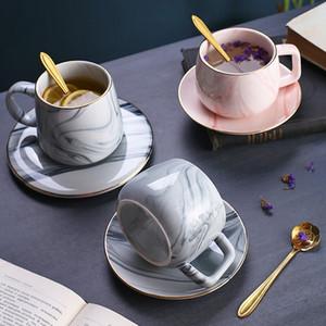 Керамическая Nordic Marble Кофейная чашка блюдце Набор Кружки Простой бытовой Европейский Small Luxury Элегантный цветочный чай чашка Y1116
