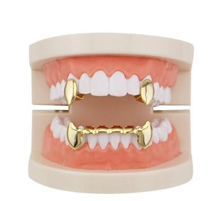 Hip Gun Grillz Teeth Dental Rappers Rose Tiger Body Smooth Gold Gold Silver Four Golden Jewelry Grills Vampire Plated Real Hop Colors wmtnI