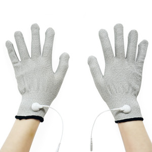 Luxury-1 Pair Conductive Fiber Electrode Massage TENS Gloves With Adapter Lead Wire Use For TENS EMS Unit FDA Cleared
