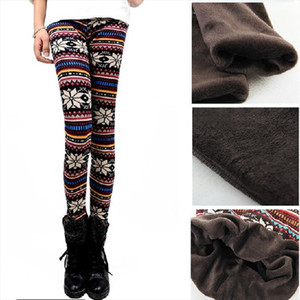 2020 Autumn Winter Women warm Leggings Fashion Thickening thermal Snow Deer Slim pants lady leopard floral printed trousers