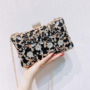 Diamant fleur féminin féminin féminin enveloppe jumelette dames paillettes soirée fête de la soirée noire sac pochette sac à main