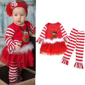 2020 new Christmas baby girls suits Cartoon girls outfits stripe dress+flared trousers 2pcs set girls clothes cartoon kids suits B2920
