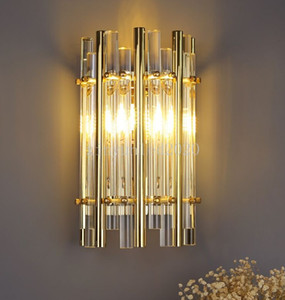New golden crystal wall lamp wall LED lights for living room hotel wall decoration Creative warm hallway bedroom bedside corridor lamp