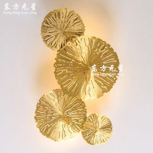 Led Wall Lamp Bedside Light Lotus Leaf Copper Personality Living Room Background Wall Bedroom Hollow Lotus Lighting