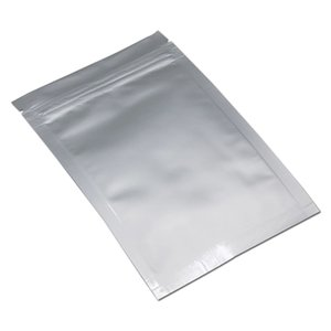 15*26cm Silver Pure Aluminum Foil Zip Lock Packaging Bag Grocery Snack Retail Mylar Zipper Tear Notch Storage Packing Pouches