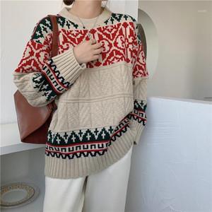JXMYY National Style Retro Büyük Kazak Kadın Giyinmeli Kapşonlu Noel Tembel Örgü Kazak Tops Sonbahar ve Kış Giyim1