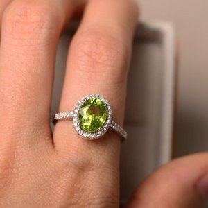 S925 sterling silver zircon peridot plated platinum emerald forest small fresh jewelry personality joker ring