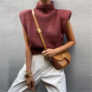 Женские подушки наплечников без рукавов свитер мода зачаточная тенденция высокая шея трикотажные пуловерные топы дизайнер женский зима повседневный свободный свитер