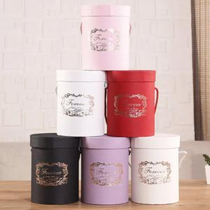 Caixas de papel de flor redonda 165 * 120mm tampa abraço Bucket Florista Presente caixa de embalagem de presente de doces barra de armazenamento de ferramentas de casamento festa