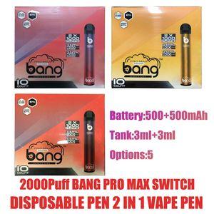 Hot Bang Pro Max Switch Dispositivo desechable VAPE 2 IN 1 6ML PODS 2000PULS A 1000mAh Batería XXTRA Double Pen para Bang XXL Puff Flex Ezzy Super