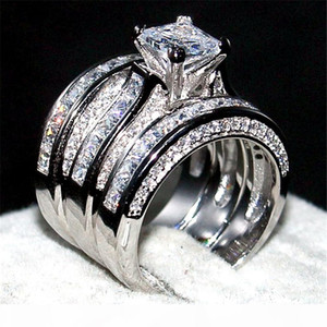 Luxury 100% Really 925 Sterling silver Ring Set 3-in-1 Wedding Band Jewelry For Women 20ct 7*7mm Princess-cut Topaz Gemstone Rings finger
