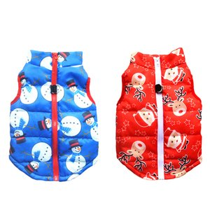 SEIS 2 Pcs Christmas Small Dog Cotton Wadded Jacket Snowman Pet Coat with Harness Hook Xmas Elk Cats Hoodie Vest Santa Claus Puppy Costume f