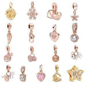 925 Sterling Argent Prestige 18K Rose Gold Zircon Bijoux Femme De Snowflake Forme De Snowflake en forme de cœur Moon Star Letter Beads Fit Pandora Bracelet