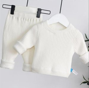Solid Color Kids Clothes Set 2pcs Set Infant Clothing Thicken T shirt Leggings Pants For Winter Autumn Toddler Clothes Suits Y1113