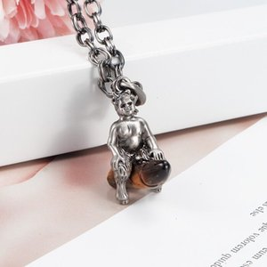 Child Riding Brother Necklace Agate Retro