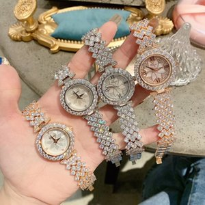 Elegant Fashion Women Full Crystals Jewelry Watches Luxury Rhinestone Bracelet Watch Waterproof Quartz Roman Wrist watch Lotus Q1119