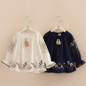 Spring Autumn 2-10 Years Cotton Navy Blue White Long Flare Trumpet Sleeve Embroidery Baby Kids Girls Tassels Blouses Shirt Y200704