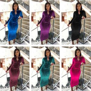 Mujeres Vestido de terciopelo Diseñador Nuevo 2020 Slim Sexy Autumn Otoño Invierno Ladies Moda Moda de manga larga Cremallera Soporte de collar Vestidos Falda 1202
