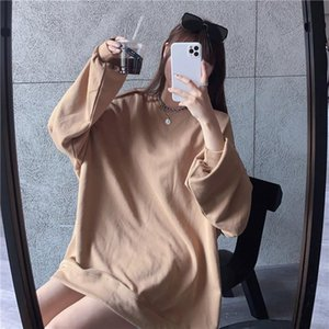 2020 autumn and winter new solid color long-sleeved shoulder David clothes women's mid-length loose bf lazy round neck top