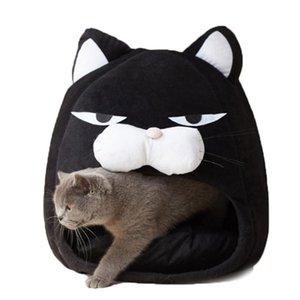 Waterproof Cat Bed Tent Warm Pet House For Cat Lovely Fleece Soft Cave Puppy Cartoon Bottom Sleep Bag Supplies Gashb