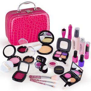 21pcs prétendre jouer simulation de simulation de maquillage cosmétique jouets pour filles enfants jouets éducatifs cadeau d'anniversaire - Pu PU rose rose 201021