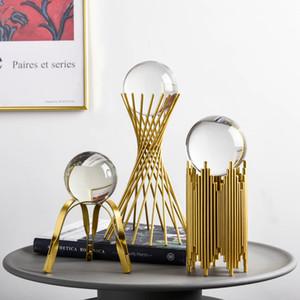 Moderno Hierro Craft Creativo Metal Vidrio Bola Adorno Sala de estar Gabinete Porche Oficina Decoración Decoración de Hogar Accesorios