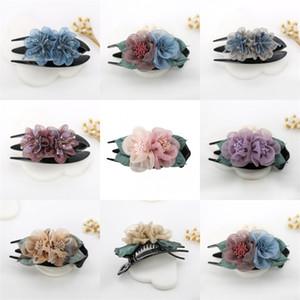 Crystal Gauze Fleurs Clips Cheveux Duckbill Trois dents Tissu Tissu Art Art Headwear Pinces Femmes Fashion Dame Accessoires 4 5cy N2