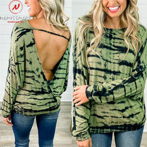 Sexy Women Spring Autumn T-Shirts Hollow Out Design O-Neck Long Sleeve Backless Print Casual Loose Pullovers Top