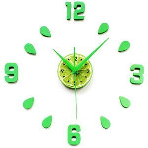 Green Design Sticker EVA 60CM Wall Clock Colour Big Large Decorative 3D Diy Wall Clock for Kitchen Children Room-Green