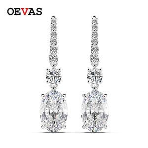 Oevas Lujo 100% 925 Sterling Silver 7 CT Creado Moissanite Citrine Gemstone Drop Dright Pendientes Joyas Fine Wholesale