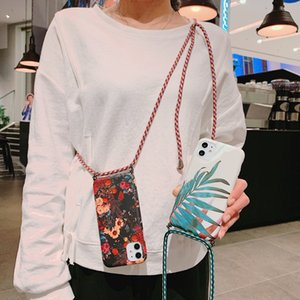 Flower phone case for iphone 11 pro max X XS MAX XR 7 8plus 6 6s plus Crossbody lanyard strap soft tpu silicone IMD cases cover