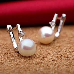 Natural Pearls earrings for women lady in 925 sterling silver fine jewelry pearls color optional dia 8-8.5mm hot sale